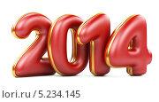 Купить «Трехмерные 2014 красные числа с золотым обрамлением, на белом фоне», иллюстрация № 5234145 (c) Маринченко Александр / Фотобанк Лори