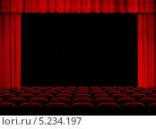 Красный открытый театральный занавес. Стоковое фото, фотограф Андрей Кузьмин / Фотобанк Лори