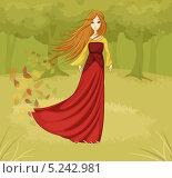 Сказочный портрет девушки в лесу. Стоковая иллюстрация, иллюстратор Вероника Ковалева / Фотобанк Лори