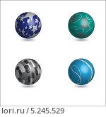 Четыре декоративных шара. Стоковая иллюстрация, иллюстратор Марина Дычек / Фотобанк Лори