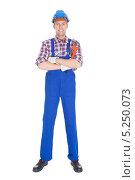 Купить «портрет молодого рабочего в полный рост», фото № 5250073, снято 6 июля 2013 г. (c) Андрей Попов / Фотобанк Лори