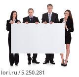 Купить «деловые мужчины и женщины держат пустой плакат», фото № 5250281, снято 12 мая 2013 г. (c) Андрей Попов / Фотобанк Лори