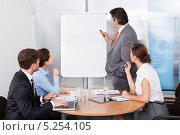 Купить «бизнесмен презентует свой проект инвесторам», фото № 5254105, снято 25 августа 2013 г. (c) Андрей Попов / Фотобанк Лори