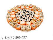 Купить «Набор японских суши на белом фоне», фото № 5266497, снято 28 сентября 2013 г. (c) Лямзин Дмитрий / Фотобанк Лори