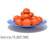 Мандарины на синем блюде. Стоковая иллюстрация, иллюстратор Руслан Багаутдиинов / Фотобанк Лори