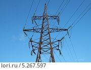 Купить «Электровышка. Высоковольтная линия электропередач», эксклюзивное фото № 5267597, снято 4 июля 2020 г. (c) Михаил Рудницкий / Фотобанк Лори