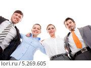 Купить «портрет радостных обнявшихся коллег», фото № 5269605, снято 25 августа 2013 г. (c) Андрей Попов / Фотобанк Лори