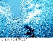 Купить «Зимний морозный узор на стекле», фото № 5270337, снято 9 февраля 2010 г. (c) ElenArt / Фотобанк Лори