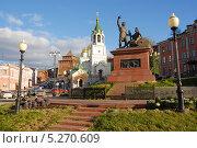 Купить «Памятник Минину и Пожарскому в Нижнем Новгороде», фото № 5270609, снято 22 октября 2013 г. (c) Андрей Забродин / Фотобанк Лори