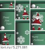 Шкафчик с Дедами Морозами, снежинками и снегом. Стоковая иллюстрация, иллюстратор Марина Дычек / Фотобанк Лори