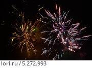 Купить «Красочные фейерверки в ночном небе», фото № 5272993, снято 13 октября 2012 г. (c) Иван Бондаренко / Фотобанк Лори