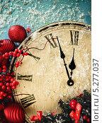 Купить «Новогодний натюрморт с часами», фото № 5277037, снято 6 декабря 2012 г. (c) Дарья Петренко / Фотобанк Лори