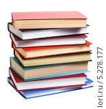 Купить «Стопка книг  на белом фоне», эксклюзивное фото № 5278177, снято 2 февраля 2013 г. (c) Юрий Морозов / Фотобанк Лори
