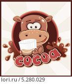 Бегемот с какао напитком. Стоковая иллюстрация, иллюстратор Вероника Ковалева / Фотобанк Лори