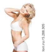 Купить «Стройная красивая женщина в скромном белье», фото № 5288305, снято 21 ноября 2009 г. (c) Syda Productions / Фотобанк Лори