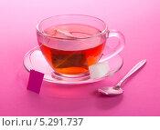 Купить «Чашка чая и сахар на блюдце», фото № 5291737, снято 10 апреля 2013 г. (c) Сергей Молодиков / Фотобанк Лори