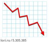 Купить «Падающий красный график на белом фоне с голубой клеткой», эксклюзивная иллюстрация № 5305385 (c) Михаил Рудницкий / Фотобанк Лори