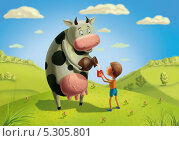 Дойная корова дает молоко ребенку. Стоковая иллюстрация, иллюстратор Куликова Татьяна / Фотобанк Лори