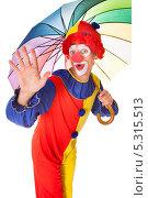 Купить «клоун с зонтиком машет рукой», фото № 5315513, снято 24 августа 2013 г. (c) Андрей Попов / Фотобанк Лори