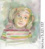Портрет девочки. Акварель. Стоковое фото, фотограф Гузель Гайсина / Фотобанк Лори