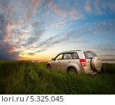 Купить «Автомобиль Suzuki Grand Vitara в высокой траве на фоне закатного неба», фото № 5325045, снято 10 августа 2012 г. (c) Владимир Мельников / Фотобанк Лори