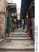 Купить «Ступени на улице. Иерусалим, Израиль», фото № 5325321, снято 12 ноября 2013 г. (c) Александр Овчинников / Фотобанк Лори