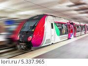 Купить «Современный быстрый пассажирский поезд», фото № 5337965, снято 19 сентября 2013 г. (c) Vitas / Фотобанк Лори