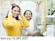 Купить «Молодая невеста примеряет свадебную диадему в салоне», фото № 5341037, снято 19 декабря 2012 г. (c) Яков Филимонов / Фотобанк Лори