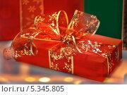 Купить «Новогодний подарок с бантом», фото № 5345805, снято 4 декабря 2013 г. (c) Элина Гаревская / Фотобанк Лори