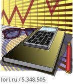 Бизнес иллюстрация, калькулятор с очками на книге. Стоковая иллюстрация, иллюстратор РифХасанов / Фотобанк Лори
