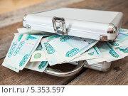 Купить «Чемодан с деньгами», фото № 5353597, снято 23 ноября 2013 г. (c) Кекяляйнен Андрей / Фотобанк Лори