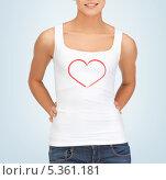 Купить «девушка в белой майке с нарисованным сердцем на ней», фото № 5361181, снято 31 марта 2012 г. (c) Syda Productions / Фотобанк Лори