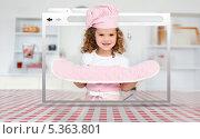 Купить «Digital internet window showing girl in cookery gear», фото № 5363801, снято 2 июня 2011 г. (c) Wavebreak Media / Фотобанк Лори