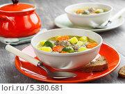 Купить «Суп с фрикадельками и брюссельской капустой», фото № 5380681, снято 11 декабря 2013 г. (c) Надежда Мишкова / Фотобанк Лори