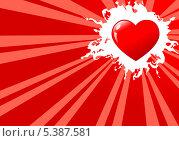 Красное сердце на фоне с лучами. Стоковая иллюстрация, иллюстратор Александр Орлов / Фотобанк Лори