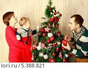 Купить «Семья с маленьким сыном наряжают новогоднюю елку», эксклюзивное фото № 5388821, снято 13 декабря 2013 г. (c) Яна Королёва / Фотобанк Лори