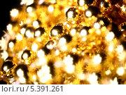Купить «Золотистые новогодние украшения», фото № 5391261, снято 10 октября 2008 г. (c) Иван Михайлов / Фотобанк Лори