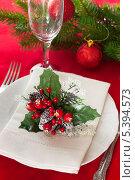 Купить «Рождественская сервировка стола», фото № 5394573, снято 12 декабря 2013 г. (c) Виктория Бирюкова / Фотобанк Лори