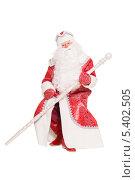 Купить «Дед Мороз (Санта Клаус) в красном костюме с посохом на коленях, на белом фоне», фото № 5402505, снято 17 октября 2013 г. (c) Сергей Сухоруков / Фотобанк Лори