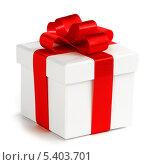 Купить «Белая подарочная коробка с красным бантом», фото № 5403701, снято 28 ноября 2013 г. (c) Иван Михайлов / Фотобанк Лори