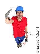 Купить «радостный рабочий со шпателем», фото № 5405541, снято 4 марта 2011 г. (c) Phovoir Images / Фотобанк Лори