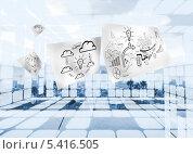 Купить «Sheets with graphics on futuristic background», фото № 5416505, снято 30 марта 2020 г. (c) Wavebreak Media / Фотобанк Лори