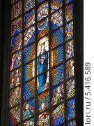 Купить «Бельгия. Брюссель. Витражи в церкви Нотр-Дам-дю-Саблон», эксклюзивное фото № 5416589, снято 7 октября 2013 г. (c) Александр Тарасенков / Фотобанк Лори