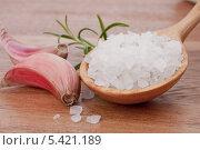 Дольки чеснока и ложка соли. Стоковое фото, фотограф Natalja Stotika / Фотобанк Лори