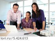 Купить «Трое коллег в офисе», фото № 5424613, снято 20 января 2010 г. (c) Phovoir Images / Фотобанк Лори