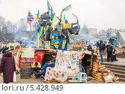 Купить «Центральная площадь Киева во время массовых митингов», фото № 5428949, снято 19 декабря 2013 г. (c) Алексей Сергеев / Фотобанк Лори