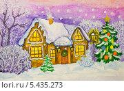 Купить «Рождественская новогодняя открытка, зимний пейзаж с домом и новогодней ёлкой», иллюстрация № 5435273 (c) ИВА Афонская / Фотобанк Лори