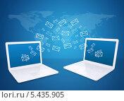Купить «Два белых ноутбука и символы конвертов на голубом фоне», иллюстрация № 5435905 (c) Кирилл Черезов / Фотобанк Лори
