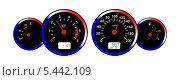 Купить «Светящаяся панель приборов автомобиля в красно-синих тонах», иллюстрация № 5442109 (c) Евгений Ткачёв / Фотобанк Лори