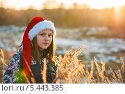 Купить «Девочка-подросток в новогоднем колпаке при закатном солнце», эксклюзивное фото № 5443385, снято 29 декабря 2013 г. (c) Игорь Низов / Фотобанк Лори